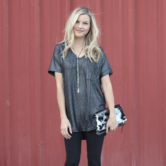 8ed1ae735f9544 She and Sky Tops   Nwt Black Metallic Hilow Dressy Tee Plus Size ...